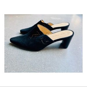 Vintage Black Mules with cut out